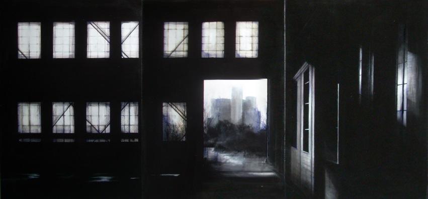 ERIKA RIEHLE conFine, 2011 acrilico su tela, trittico tot 70x150cm