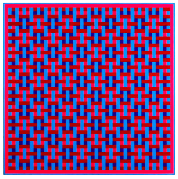 Ernst Benkert, Overlap No. 3  (Crimson and Blue), 1966, acrílico sobre tabla, 61 x 61 cm.